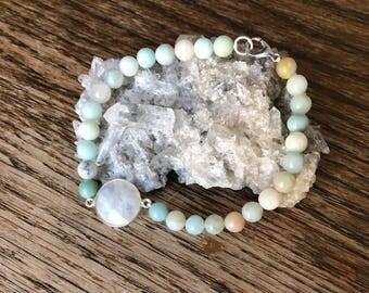 Rainbow Moonstone and Amazonite Beaded Bracelet