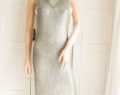 Unworn Metallic silver knitted maxi dress Party dress Column dress Cocktail dress  Evening dress Boho wedding dress Metallic silver maxi