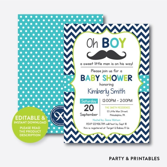Instant download editable mustache baby shower invitation mustache il570xn filmwisefo
