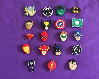 19-pc Avengers Superheroes Shoe Charms for Crocs, Silicone Bracelet Charms, Party Favors, Jibbitz