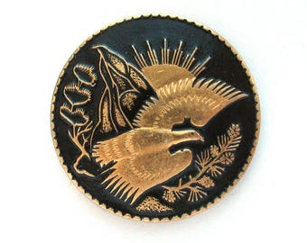 Bird, Rare Brooch, Pin, Animal, North nature, Sunrise, Vintage metal soviet collectible badge, Made in USSR, 1970s