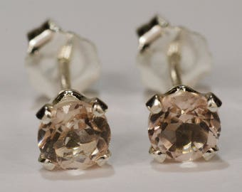 Peach Morganite Earrings~.925 Sterling Silver Setting~4mm Round~Genuine Natural Mined