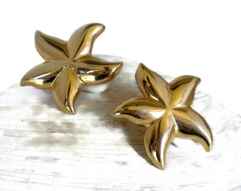 Gold Starfish Clip Earrings, 1.25 inches, New Comfort Pads Included, Starfish Earrings, Starfish Jewelry, Sea Life Jewelry, Vintage Clip On