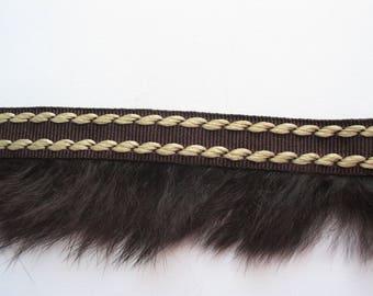 Brown and beige stripe with Brown rabbit fur coat