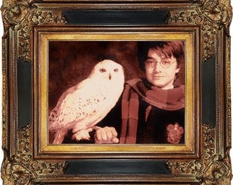 Harry Potter Cross Stitch Pattern, Hogwarts. Hedwig, Owl, Daniel Radcliffe, Wizzard, Fantasy, Counted Cross Stitch, Embroidery, Download