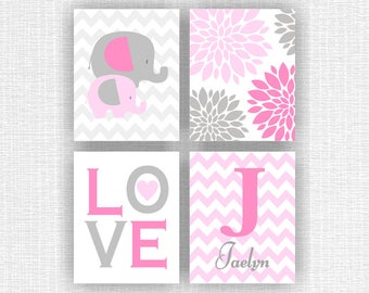 Pink and gray Baby Girl Room Playroom Decor Art Set of 4, 8x10, Elephant, Love, Flowers, Name print, Monogram, INSTANT DOWNLOAD