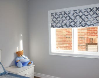 "Flat Roman Shade ""Denim Alendel"" with chain mechanism, Roman Shades, Window Treatment, Custom Made"