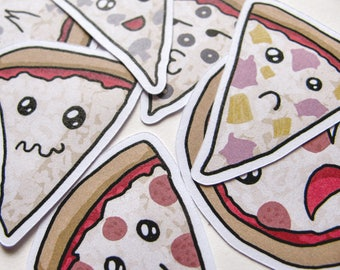 Cute Pizza Stickers, Funny Food, Journaling, Sticker Flake, Stationery, Scrapbooking, Paper, Kawaii Stickers, cute faces