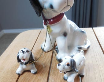 Vintage Dalmatian dog and Puppies large figurine