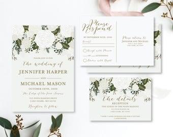 Wedding Invitation Set Template, DIY Wedding Set, Cheap Wedding Invitations, Rsvp Card, Details Card, INSTANT Download PDF Template #CL112
