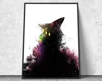 SALE - 25% OFF - Final Fantasy, Black Mage, watercolor illustration, giclee art print, silhouette, wall decor