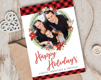Holiday Photo Card, Christmas Photo Card, Printable, Customized, DIY invitation, buffalo plaid and florals