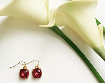 Gorgeous Hot Pink Gold Dangle and Drop Earrings