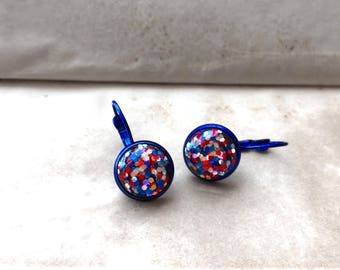 Trendy, Party Glam, Glossy, Sky Blue, Marine, Sparkling, Small, Sailor, Hoop, Round, Gemstone, Glitter, Vintage Style, Earrings