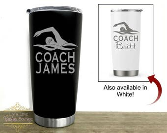 Swim coach gift - Swim coach mug - gift for swim instructor Stainless Steel coffee travel mug swimming coach instructor - swim team thermos