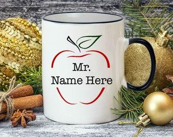 Teacher Gift - Personalized Teacher Coffee Mug - Teacher Mug - Dishwasher Safe Coffee Mug affordable custom teacher gifts unique apple mugs