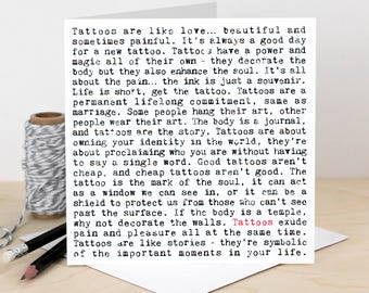 Tattoos Card; Card For Tattoo Artists; Loves Tattoos; Body Art Card; Ink Card; Body Artist; GC701
