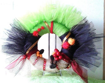 lime, Brown and Red Christmas wreath