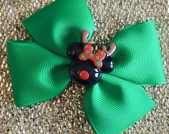 Green Minnie Reindeer Inspired Christmas Hair Bow