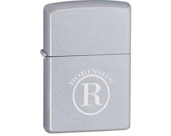 Personalized Zippo Satin Chrome Lighter - Personalized Zippo Lighter - Zippo Lighters - Gifts for Him - Men - Groomsmen Gifts - 205