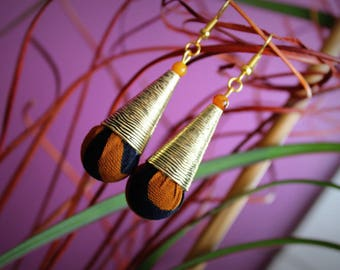 Earrings drop pendant in Wax fabric and metal cone