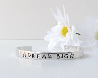 RESINATING WORDS - ladies cuff bangle hand stamped with a word that resonates, dream big