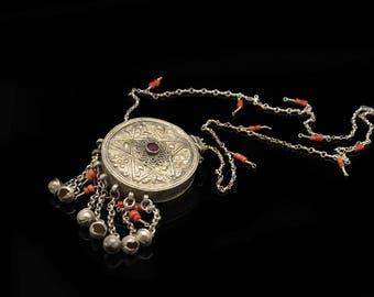Antique original silver niello coral decorated  amazing ottoman anatolian for lady necklase