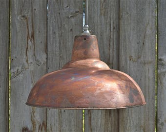 Large aged antique copper hanging pendant light distressed copper finish ceiling lamp shade ACSR4
