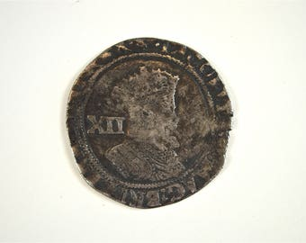 Original James 1st silver shilling 1603-1625 English silver hammered coin HC1