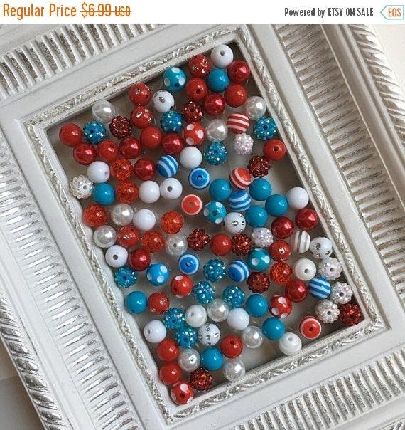 "SALE 12mm  ""Bright Christmas: White, Red, & Mint Blue""  {100 count}  Chunky Bubble Gum Bead Wholesale Bulk Bead Lot for Necklaces or Bracele"