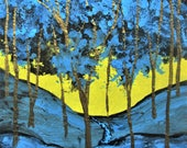 """Twilight Woods #256 (ARTIST TRADING CARDS) 2.5"""" x 3.5"""" by Mike Kraus - blue gold trees forest nature hike hiking ooak stocking stuffer fun"""