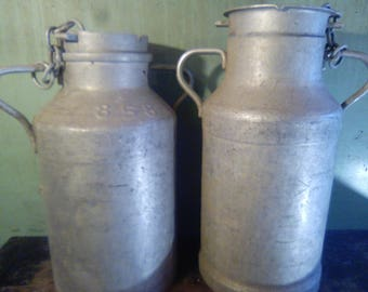 Antique vintage metal galvanise French milk churns with lids