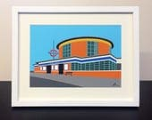 Arnos Grove Station - Mounted Print - London Underground illustration - Art Deco Tube Station Series - by Rebecca Pymar