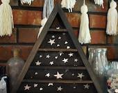 Galaxy Silver Background Triangle Display Shelf