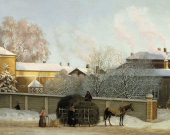 Magnus von Wright: Annankatu on a Cold Winter Morning. Fine Art Print/Poster (004546)