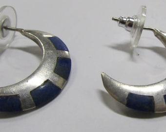 Sterling Silver and Lapis Post Hoop Earrings