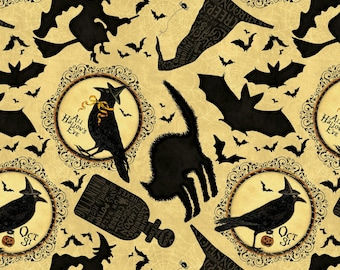 Cream Halloween Fabric Yardage. Come Sit a Spell. Wilmington. Halloween Quilt Fabric. Black Cat. Flying Witch Fabric. Black Crow. Black Bats