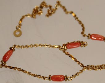 Necklace in genuine pink coral on plated gold 18 microns