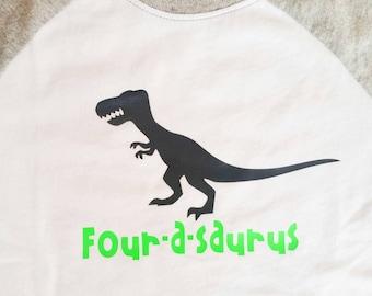 Dinosaur birthday shirt. Baseball style. Made to order.