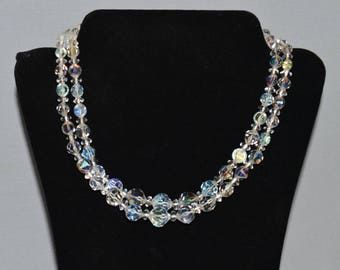 Vintage Necklace - Aurora Borealis Beaded Necklace, Two Strands, Rhinestone Clasp, 1950s or 1960s