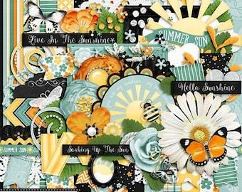 On Sale 50% Summer Sun, Digital Scrapbook Kit, Scrapbooking Elements and Embellishments