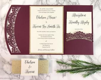 Burgundy and Gold Glitter Laser Cut Pocket Wedding Invitation, Marsala Invitation, Wine Invitation, laser invitation, Glitter invitation