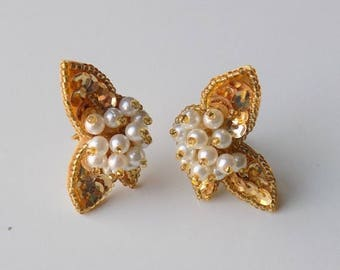 Gold Beaded and Sequins Clip On Cluster Earrings