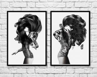 2 Art-Posters 30 x 40 cm Limited Edition 50 ex. - Duo Girls and Bears Portraits