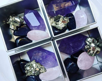 Mineral Box, Altar, Witchy Gifts, Crystals, Home Decor, Amethyst Wand, Pyrite Cluster, Rose Quartz Palm Stone, Blue Goldstone, Metaphysical!