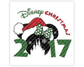 Disney, Christmas, 2017, Santa, Castle, Snowflake, Mickey, Minnie, Head, Ears, Digital, Download, TShirt, Cut File, SVG, Iron on, Transfer
