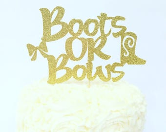 Boots or Bows Gender Reveal Cake Topper