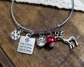 Snowflake bracelet, Winter bracelet, Let it snow bracelet, christmas jewelry, holiday bracelet, snowflake jewelry, holiday gift