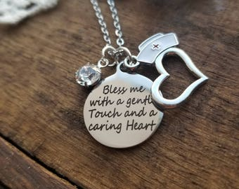 Gift for nurse, nurse's prayer necklace, gift for RN ,gift for CNA , gift for LPN, gift for midwife, Christian jewelry, religious gift