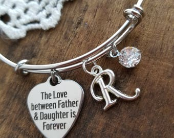 Father daughter bracelet, gift for daughter, the love between a father and daughter charm bracelet, sweet 16 bracelet, daddys girl bracelet
